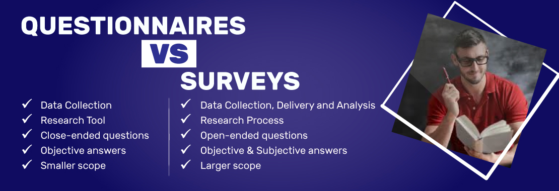 The differences between Questionnaires and Surveys